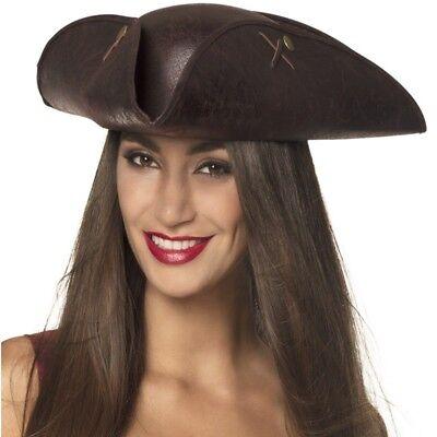 Piraten Dreispitz Hut Leder Imitation Seeräuber Damen Hut Kostüm Zubehör - Piraten Hut Kostüm