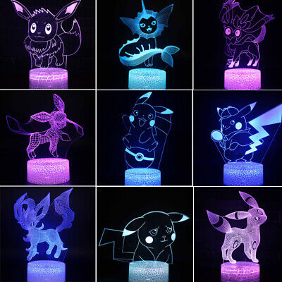 Pokemon Umbreon Sylveon Acrylic 3D LED Night Light Table Desk Lamp Xmas Gifts