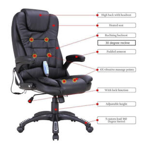 NEW BLACK OFFICE CHAIR HEATED MASSAGE CHAIR COMPUTER CHAIR
