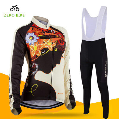 Womens Sports Team Cycling Jersey Sets Bike Bicycle Bib Top Long Sleeve Clothing