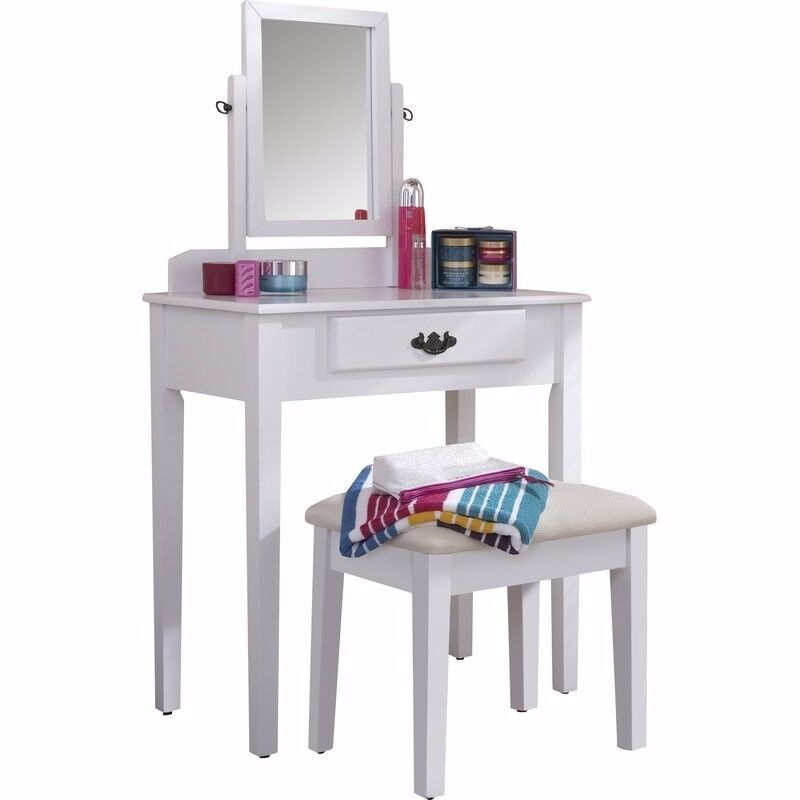 Small White Dressing Table With Draw Mirror And Chair