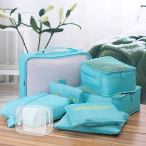 8 Set Packing Cubes 6 Travel Organizers 1 Toiletry and 1 shoebag