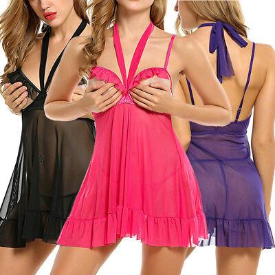 - Women Sexy Lingerie Open Bust Halter Chemises Babydoll Sleepwear Nightwear Dress