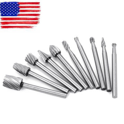 10pc Tungsten Carbide Cutting Burr Set Drill Bits Rotary Grinder Grinding