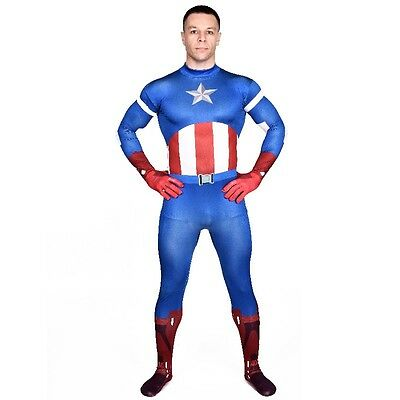 Avengers Captain America Anzug (Herren Ganzkörperanzug Captain America The Avengers Kostüm Superheld Overall)