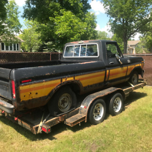 1976 Ford F150 Custom Project Truck with 16' Car Hauler