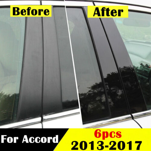 6pcs Stainless Steel Window Pillar Posts Chrome Trim For Honda Accord 2013-2017
