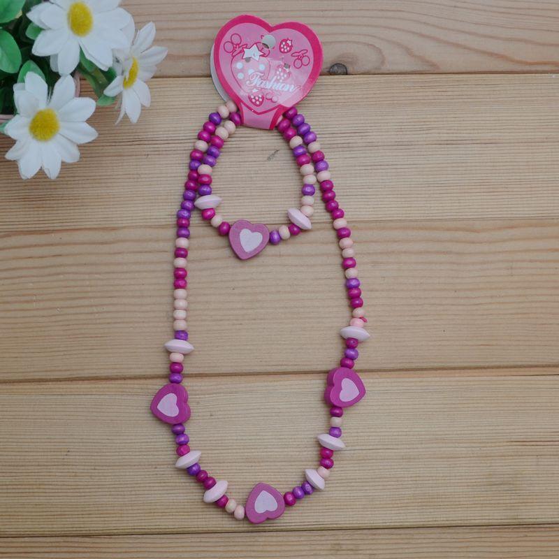 1 Set Cute Girls Pink Heart Wooden Beads Necklace&Bracelet Children Jewelry Set