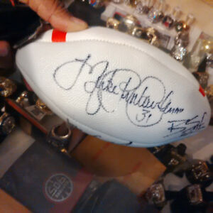 Pinball Clemons signed mini football and grey cup,replicas
