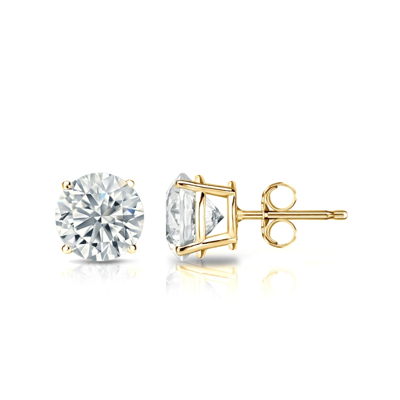 $10.99 - 1/4 Ct Diamond Stud Earrings 4MM Round Diamond Solitaire Earring 14k Yellow Gold