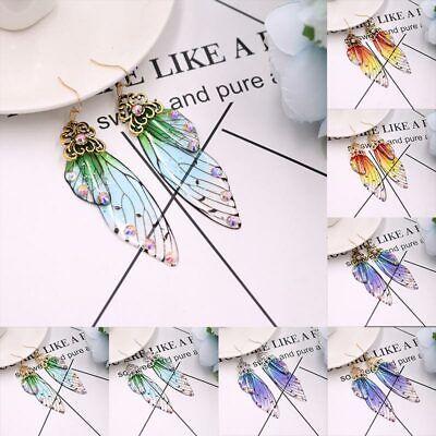 Femme Wing Drop Earrings Handmade Silver Fairy Tale Cicada Wings Golden 1Pair