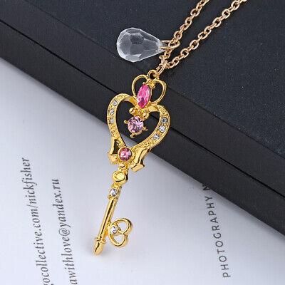Moon Key - Sailor Moon Anime Heart Wand Moon Key Cute Art Necklace Chain Pendant Cosplay