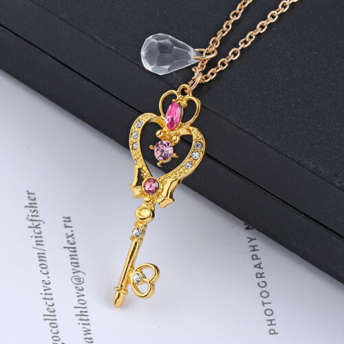 Sailor Moon Anime Heart Wand Moon Key Cute Art Necklace Chain Pendant Cosplay