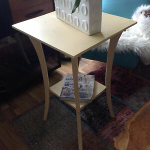 Lovely two-tier antique accent table in rich buttercream