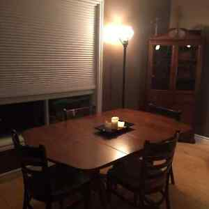Antique Walnut Table and Hutch