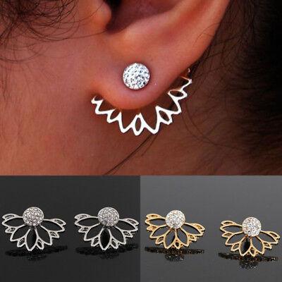 (Women Crystal Hollow Lotus Flower Drop Dangle Stud Earrings Jewelry Gift)