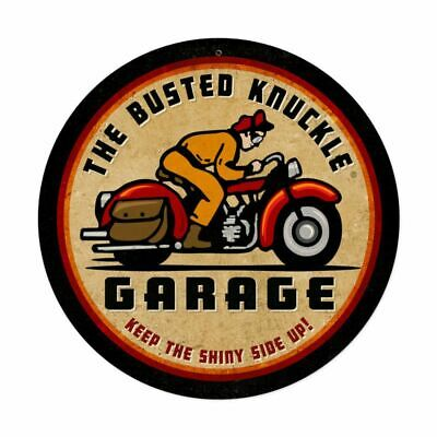 "THE BUSTED KNUCKLE GARAGE BIKE RIDER 14"" ROUND HEAVY DUTY USA MADE METAL AD SIGN"