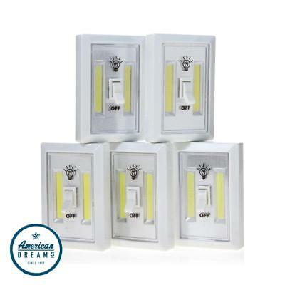 Promier COB LED Wireless Light Switch 5-pack, Emergency, Cordless