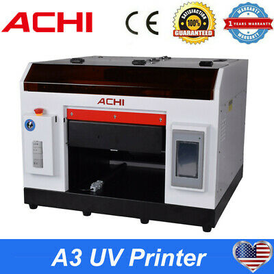 A3 Uv Printer For Flatbed Cylindrical Metal 3d Rotation Embossed 6 Colors Dtg Us