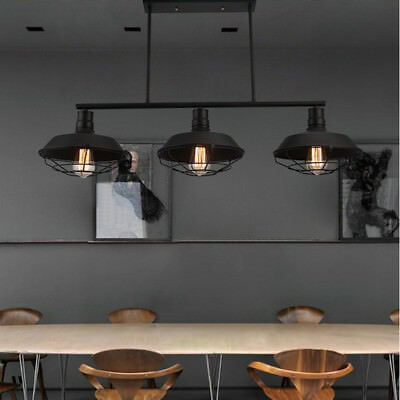 (3 Light Wrought Iron Black Industrial LED Linear Island Pool Table Pendant Light)