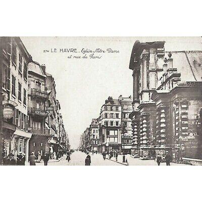 [76] Le Havre - Eglise Notre Dame et rue de Paris.