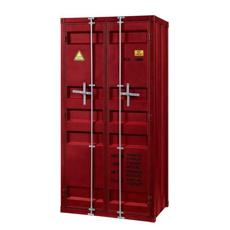 Bowery Hill Modern Double Door Metal Wardrobe in Red