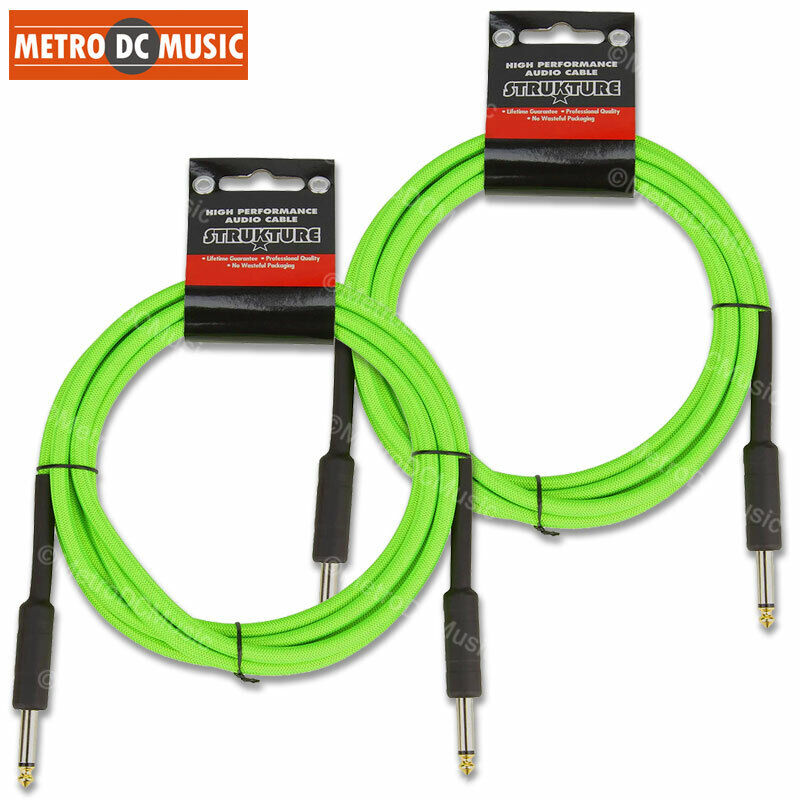 """2-Pack 10 ft UFO Neon Green Woven Guitar Instrument Cable Patch Cord 1/4"""" Gold"""