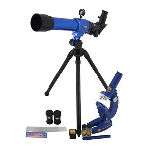 Childrens Science Microscope and Telescope Set &Tripod Kids Astronomy Toy 545