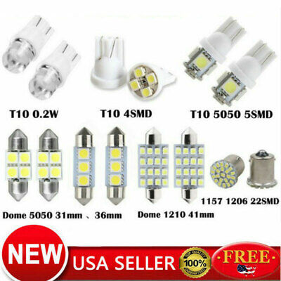 28Pcs Car Interior LED Light Dome License Plate Mixed Lamp Auto Accessories Kits