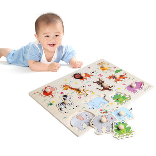 Baby Children Animal Wooden Attractive Early Learning Hand Puzzle Plate Toys