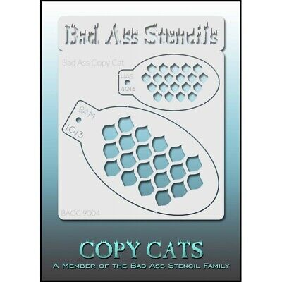 Bad Ass Stencil Copy Cats Scales #9004 Face Painting Airbrush Hobby Reusable -
