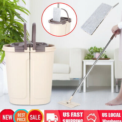 Dry Wash System - Self Cleaning Drying Wringing Mop Bucket System Flat Floor Rotate Hand Wash Mop