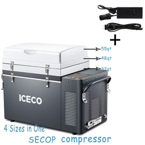 37/45/49/55QT Portable Car Fridge Freezer 12V Refrigerator+AC Adapter Camping
