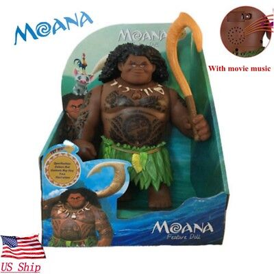 Usa Moana Singing Maui Fishhook Action Figures 8 Doll Movie Song Kids Toy Gift