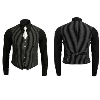 Adult Mens 1920s Gangster Mafia Pinstripe Waistcoat Vest Shirt Tie Costume - 1920s Mafia Costume