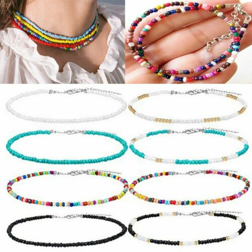 Jewellery - Boho Colorful Seed Beads String Beaded Choker Clavicle Chain Necklace Women Gift