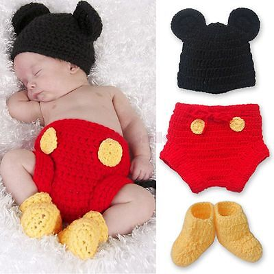 Mickey Mouse Costume Baby Newborn Infant Kids Crochet Knit Outfit Photo Props](Mickey Mouse Newborn Costume)