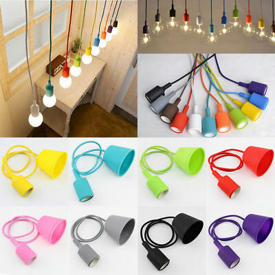 1M DIY Silicone Ceiling Braided Cord Pendant Lamp Holder For E27 Light Bulb  1 Light Cord Pendant