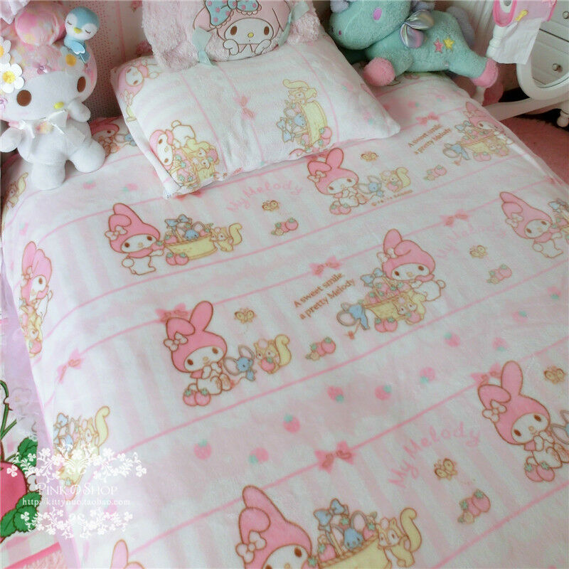 140*200CM Sanrio Bowknot My Melody Bedding Soft Throw Blanket Quilt Coral Velvet