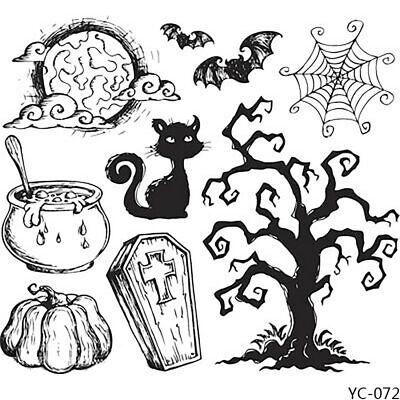 Halloween Black Cat Bat Tree Clear Stamps DIY Scrapbooking Decorative Card Craft
