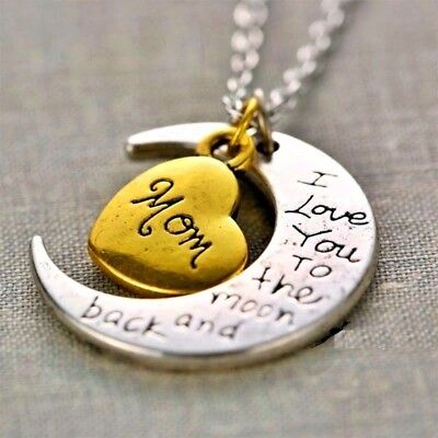 Best Gift For Family Mom I Love You To The Moon And Back Necklace Charm Pendant