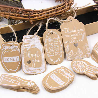 50Pcs Paper Card Tag Multi Shape Kraft Label Pakaging Idea Gift Wrapping (Gift Tag Ideas)
