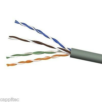 20M OF GREY HIGH QUALITY SOLID COPPER CORE CAT5E UTP PVC 4 PAIR NETWORK CABLE