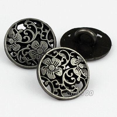 "12PCS Zinc Alloy Pierced Round Flower Carving Shank Buttons 12mm 20L 1/2"""
