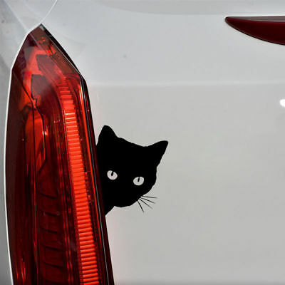 Cat Face Peering Funny Car Decal Window Truck Auto Bumper Laptop Sticker Black