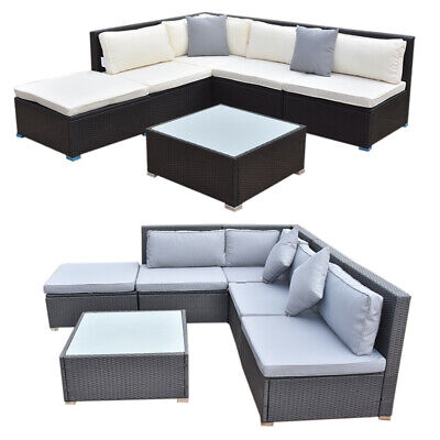 Rattan Garden Patio Furniture Sets Cushion Sofa with Glass Coffee Table Sofa Set