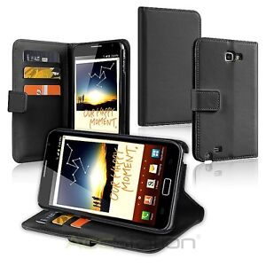 BLACK LEATHER HARD CASE COVER WALLET FOR Samsung Galaxy Note LTE SGH-i717 AT&T