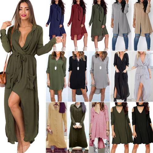 Women Casual Long Sleeve Maxi Dress Ladies Loose Long Tops B