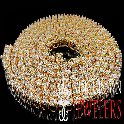 Real Genuine Diamond Mens Rose Gold Finish 1 Row Necklace Chain 3.5 MM 26 Inch