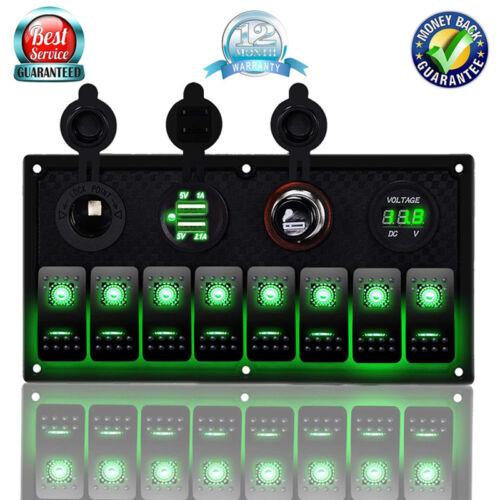 8 gang 12v 24v inline fuse box led rocker switch panel dual usb ...  ebay